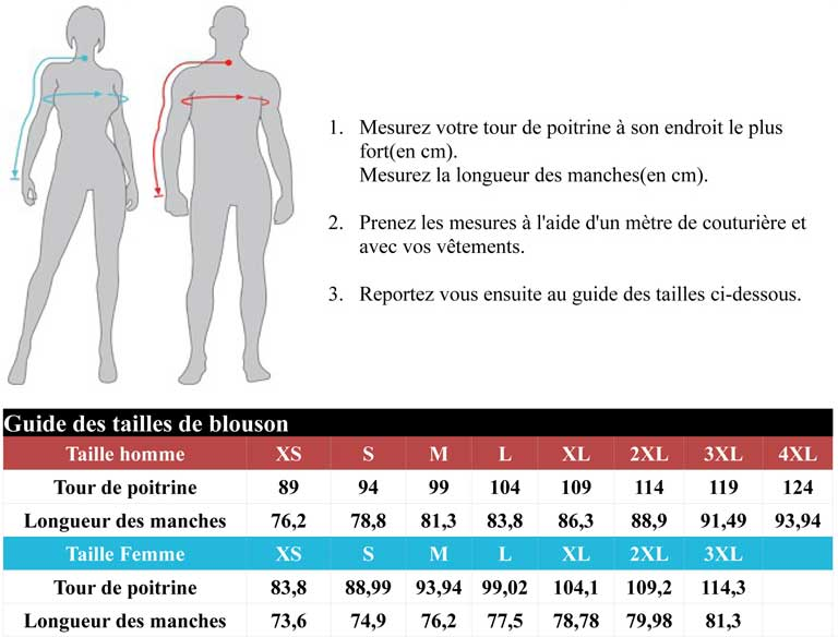 guide taille blouson icon